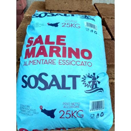 Cloruro di sodio granulare (sale grosso,marino essicato) 25Kg.